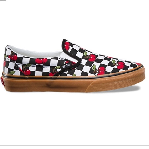 f044113caf Vans classic slip on cherry checker black gum new